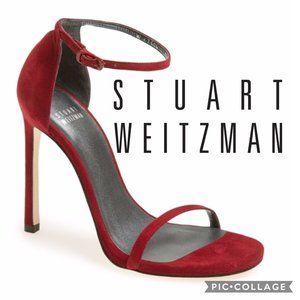 STUART WEITZMAN The Nudist Sandal Red Suede 6.5